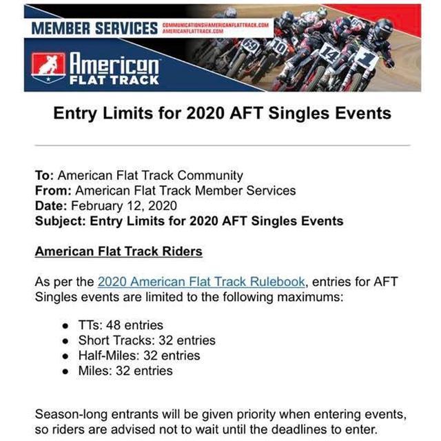 画像: AFT関係者への公式な通達は今月半ばを過ぎてから。つまり現段階で年間エントリー数が少ないのかも?