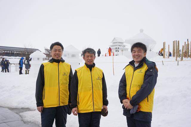画像: 左から、渡辺氏、高橋氏、佐藤氏。取材当日は「上杉雪灯篭まつり」