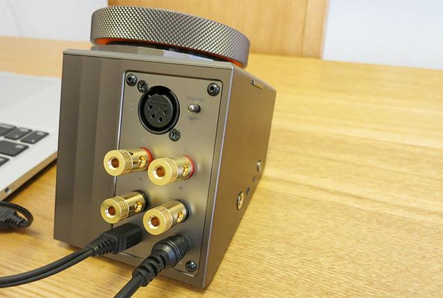 画像: リア部にはスピーカー端子とmicro USB端子、4ピンのXLRバランス端子およびスピーカーのON/OFFスイッチが装備されている