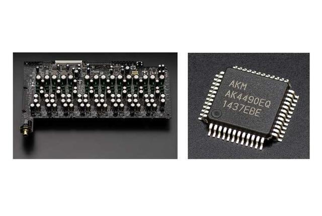画像: 写真左はDAC基板で、右が搭載されるDACチップ。「AVR-X7200WA」から変わらず旭化成エレクトロニクス製の「AK4490」を採用するが、チップ数は7基から8基へと増加。DAC基板は映像回路やネットワーク回路から独立させることで相互干渉を排除している