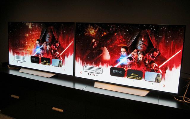 画像: 同じテレビとプレーヤーを2台並べて比較試聴を実施した。写真左はBlu-rayで、右はUHD Blu-ray