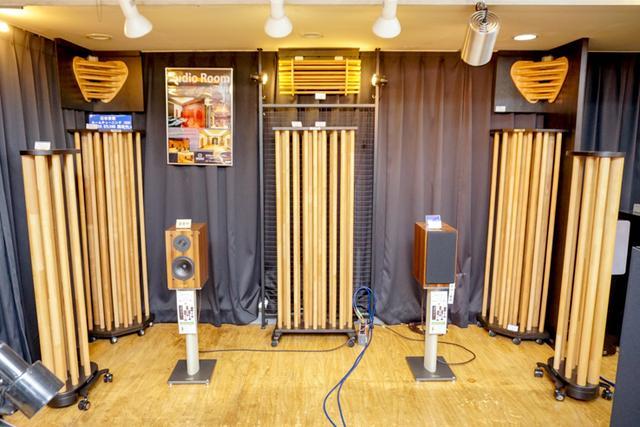 画像: [2F]日本音響エンジニアリングの柱状ルームチューニング機構「AGS」(Acoustic Grove System)を用いた試聴ができる