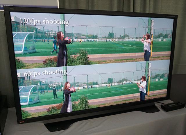 画像: 120pと60pで動画の印象がどれくらい違うかの比較映像も準備。ボールの再現性の違いは一目瞭然