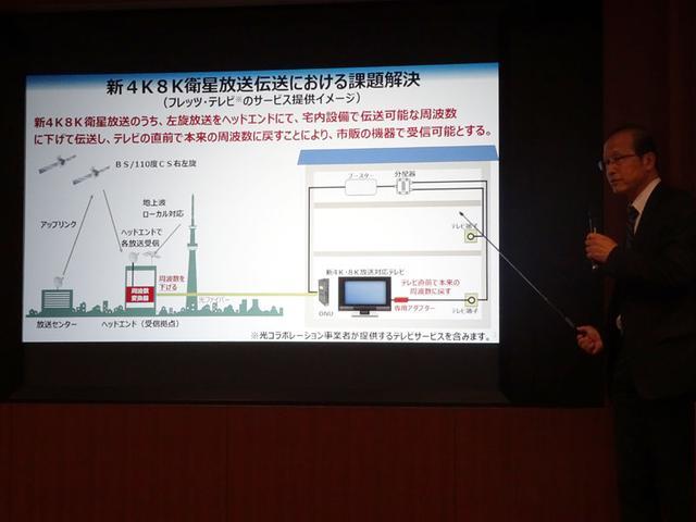 画像: フレッツ・テレビのサービスのイメージ図。左旋円偏波を使った高周波の信号も、現行の帯域に変換して伝送されてくるので、家庭内では今までの配線がそのまま使える。4Kテレビの直前に、今回発表の専用アダプターを取り付けることで、新4K8K衛星放送が見られるようになる