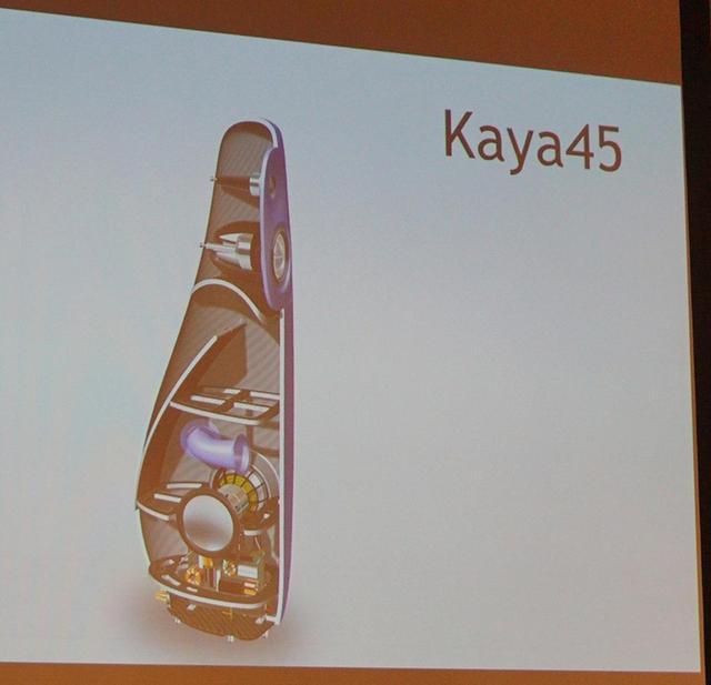 画像: KAYA 45の内部構造。図中央・左側の斜めの仕切りがアブソーバーホーンとして動作する
