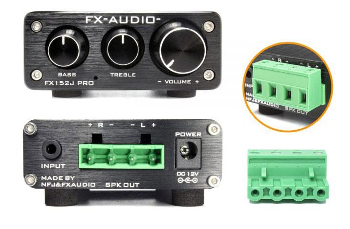 画像: フロントにはトーンコントロール用ダイヤル(高域と低域)とボリュームを装備する。リアには、音声入力(3.5mmステレオミニ)とスピーカー出力(四極ターミナルブロック)を備える