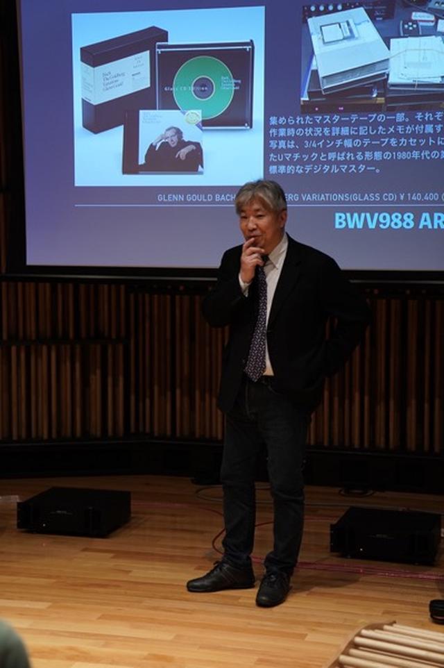画像: とある試聴会での三浦孝仁先生。面白いお話にみなさん釘付けになります!