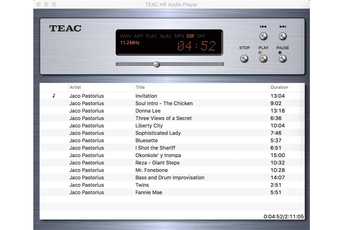画像: ティアックは専用の再生ソフトウェア「TEAC HR Audio Player」を用意している。Windows/Mac両方があり、対応サンプリング周波数は同じだ(画像はMac版)。これまではDSDは11.2MHzまでの対応だったが、先日のアップデートでDSD 22.6MHz、PCM 768kHz/32ビットまでに対応できるようになった。同社他製品でも使えるソフトウェアだが、再生できるサンプリング周波数はDACに依存するので注意いただきたい