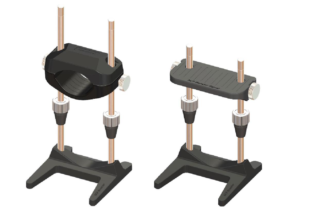 画像: 「Shaft Bar Adjuster」(シャフトバーアジャスター)の使用例。長さを継ぎ足すバーの間に本品を付ける