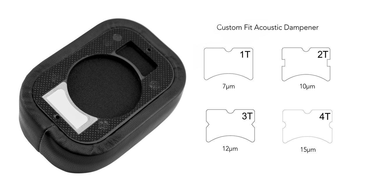 画像: 形状や厚さの異なる4種類の「アコースティック・ダンパー」が同梱される。これはユーザーが好みのダンパーをイヤーカップの内側に貼り付けることで、特定の帯域を減衰させて音を調整するもの