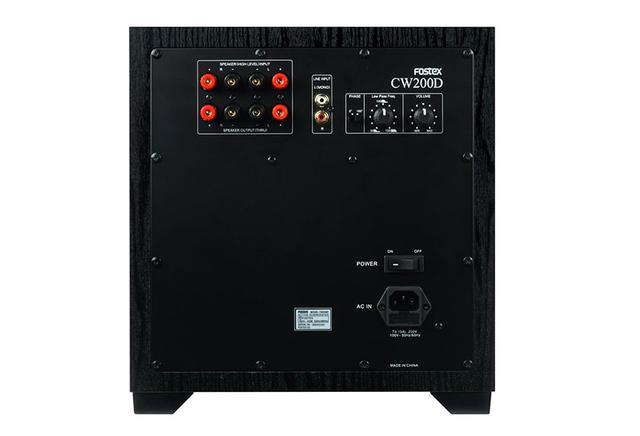画像: 入力端子はRCAラインが1系統と、スピーカー入出力を備える。LFE専用入力は搭載しない