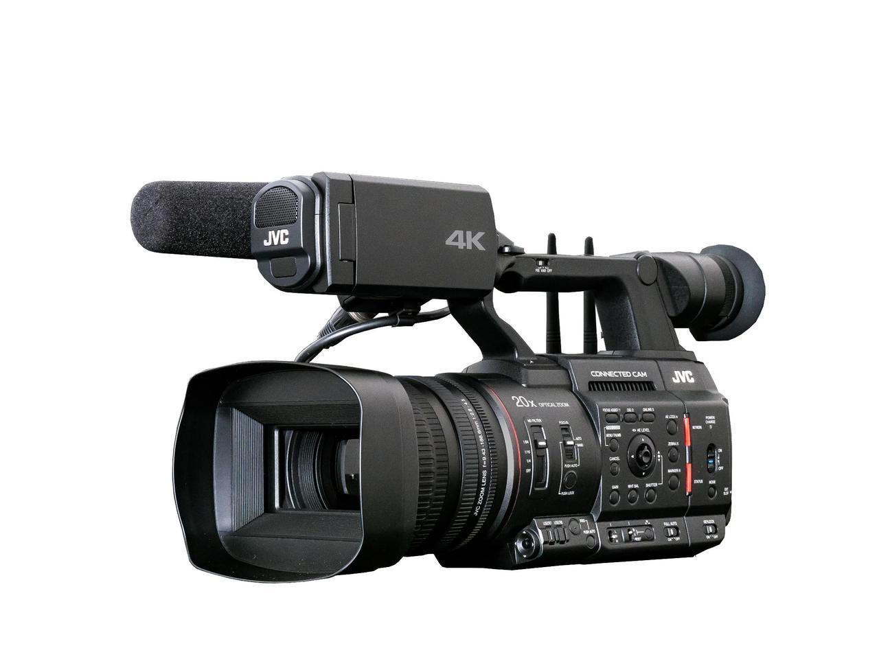 画像: JVCの4Kカメラレコーダー「GY-HC550」。MIMO方式のデュアル・アンテナを搭載し、無線LAN接続が可能