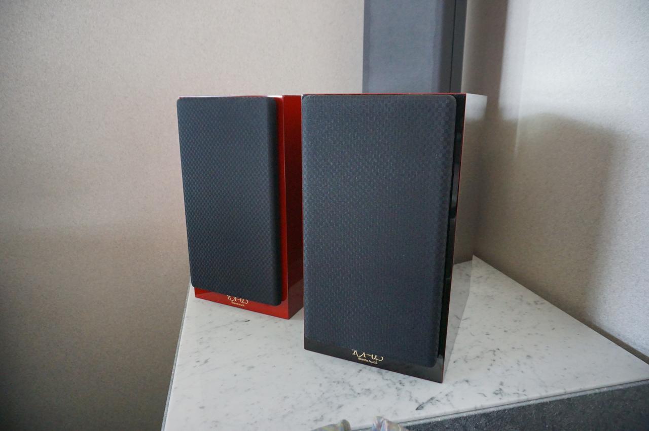 画像: 手前「KX-0.5UB」、奥側「KX-0.5UR」に西陣織サランネットをつけた状態