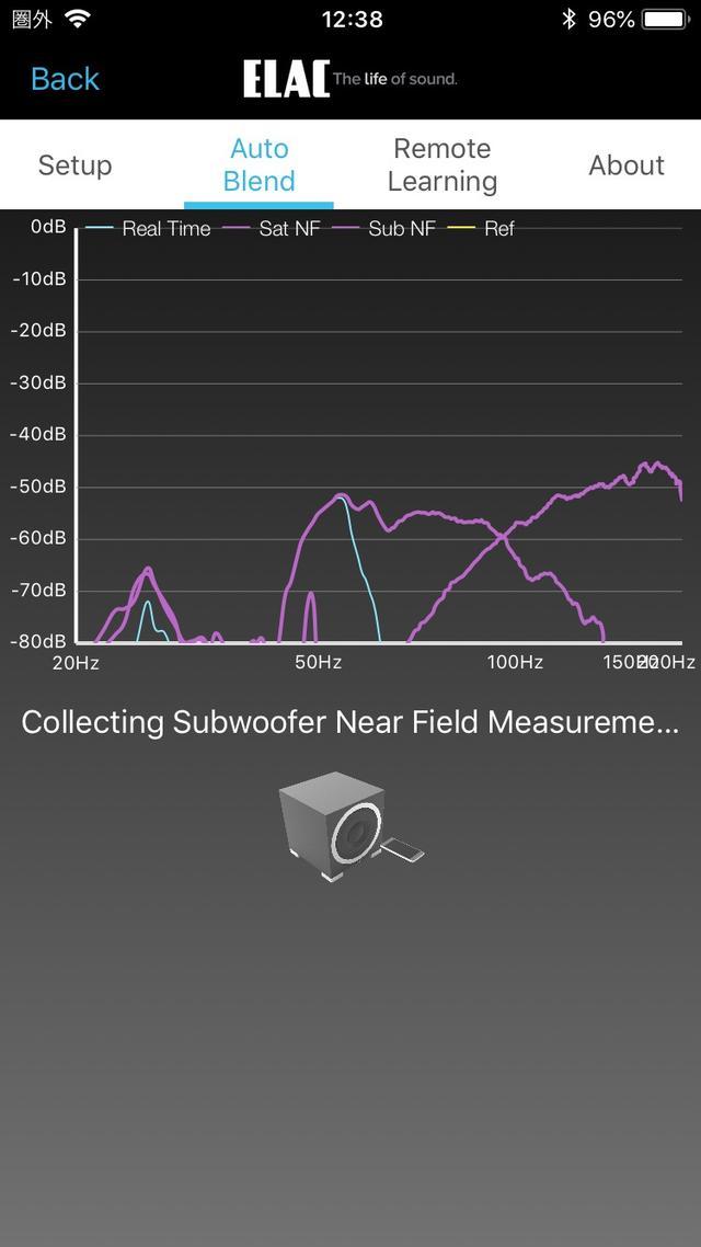 画像: 【4】次はサブウーファーの再生能力の測定だ。同じくサブウーファーにスマホを近づけて実施する。各項目の測定時間は短く、サクサクと進む
