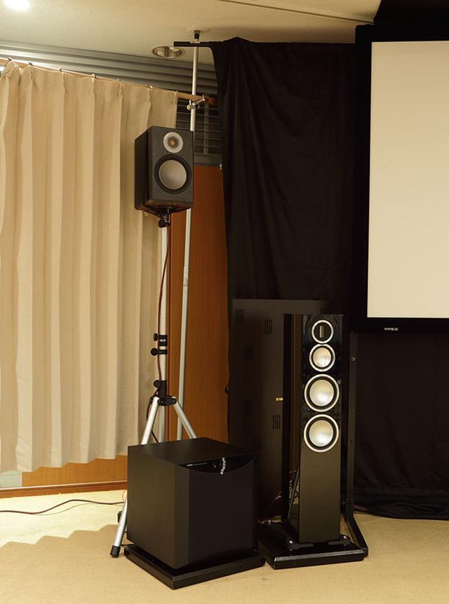画像: スピーカーシステムは、モニターオーディオのGOLD、SILVERシリーズを使用。CDやハイレゾの試聴時には2.0chのみを鳴らしている