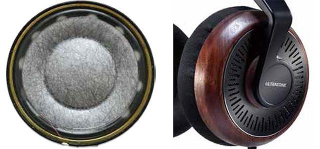 画像: ▲新開発TruTexバイオセルロース40mm径ドライバー(左)とウォールナット無垢材を使ったハウジング(右)
