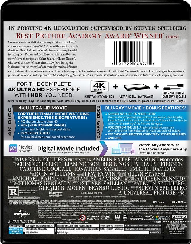 画像2: 4Kレストア/ドルビービジョン/ドルビーアトモスで蘇るスピルバーグ監督の名作『シンドラーのリスト』【海外盤Blu-ray発売情報】