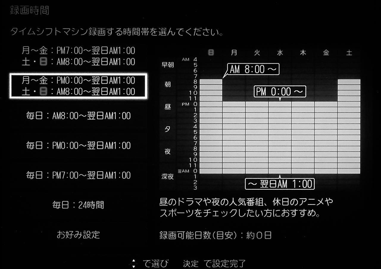 画像: 東芝レグザと言えばタイムシフトマシン録画(全自動録画)が特徴のひとつ。ひとつのハードディスクに6チャンネルまで録画が可能で、録画時間帯を1時間単位で細かく指定することもできる