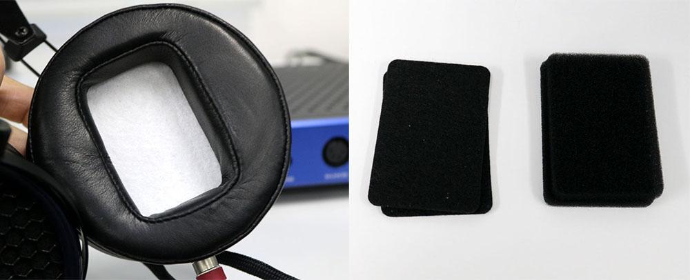 画像: 右が付属マテリアルの一部。好みの音質に応じて、左のようにイヤーパッドの中に取り付ければいい