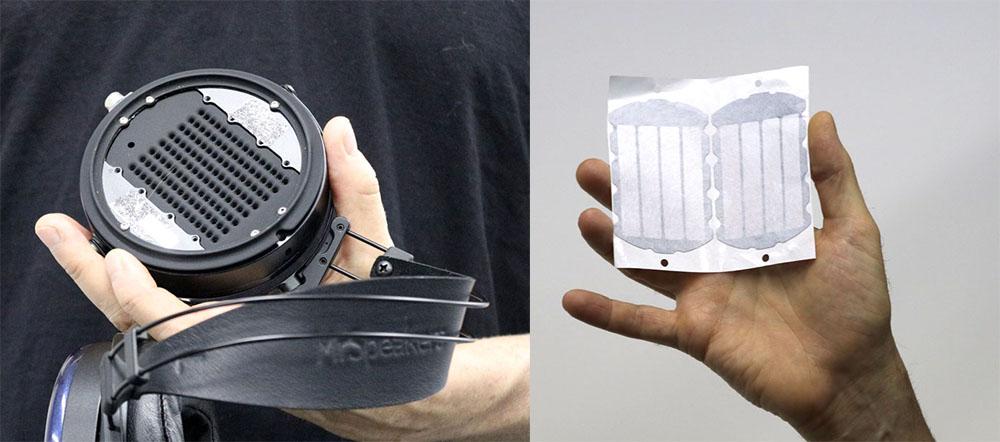 画像: 左はETHER FLOWのウレタンをはずしたところ。ここに右のダンピングペーパーを貼り付ける