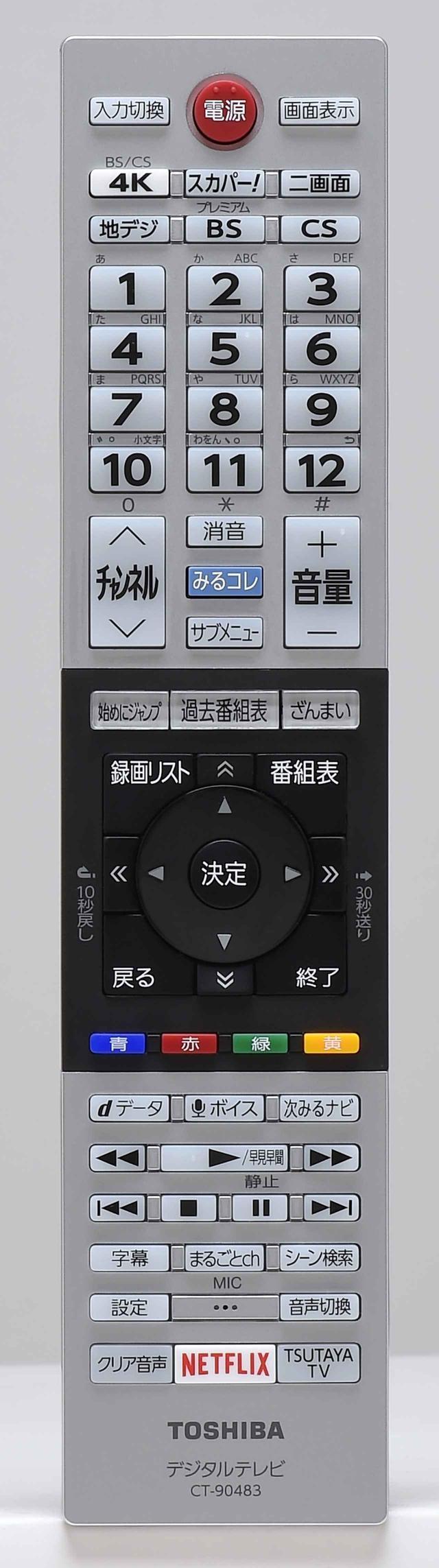 画像: リモコンは従来のデザインを踏襲したもの。上段左側に「4K」の選局ボタンが配置される。また、本機もソニーZ9Fシリーズと同様にNetfliX作品の映像解像度やビットレート値が確認可能で、再生中に青ボタンを押すと詳細データが表示され