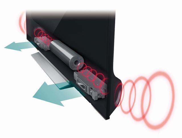 画像: スピーカーは「重低音バズーカオーディオシステムPRO」を採用。ボックスタイプの2ウェイスピーカーを左右それぞれに、そして中央背面に重低音用のバズーカウーファーを配置した2.1ch構成となり、総合出力は66W(15W+15W+8W+8W+20W)。4K映像に負けないダイナミックレンジの広い音を目指している
