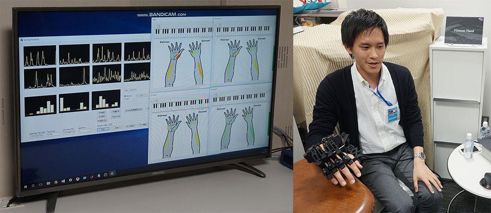 画像: 上のピアノを演奏すると、演奏者の細かい情報がデータとして蓄積される。その情報を下の写真のように解析したり、専用グローブで追体験できる