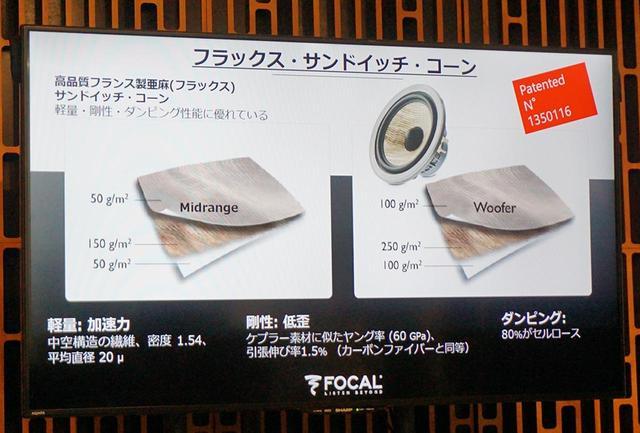 画像: Kanta N1で使われるフラックス・サンドイッチ・コーンは左のミッドレンジと書かれたもの。右で説明されている厚みの異なるものは、Kanta N2のウーファー振動板で使われている