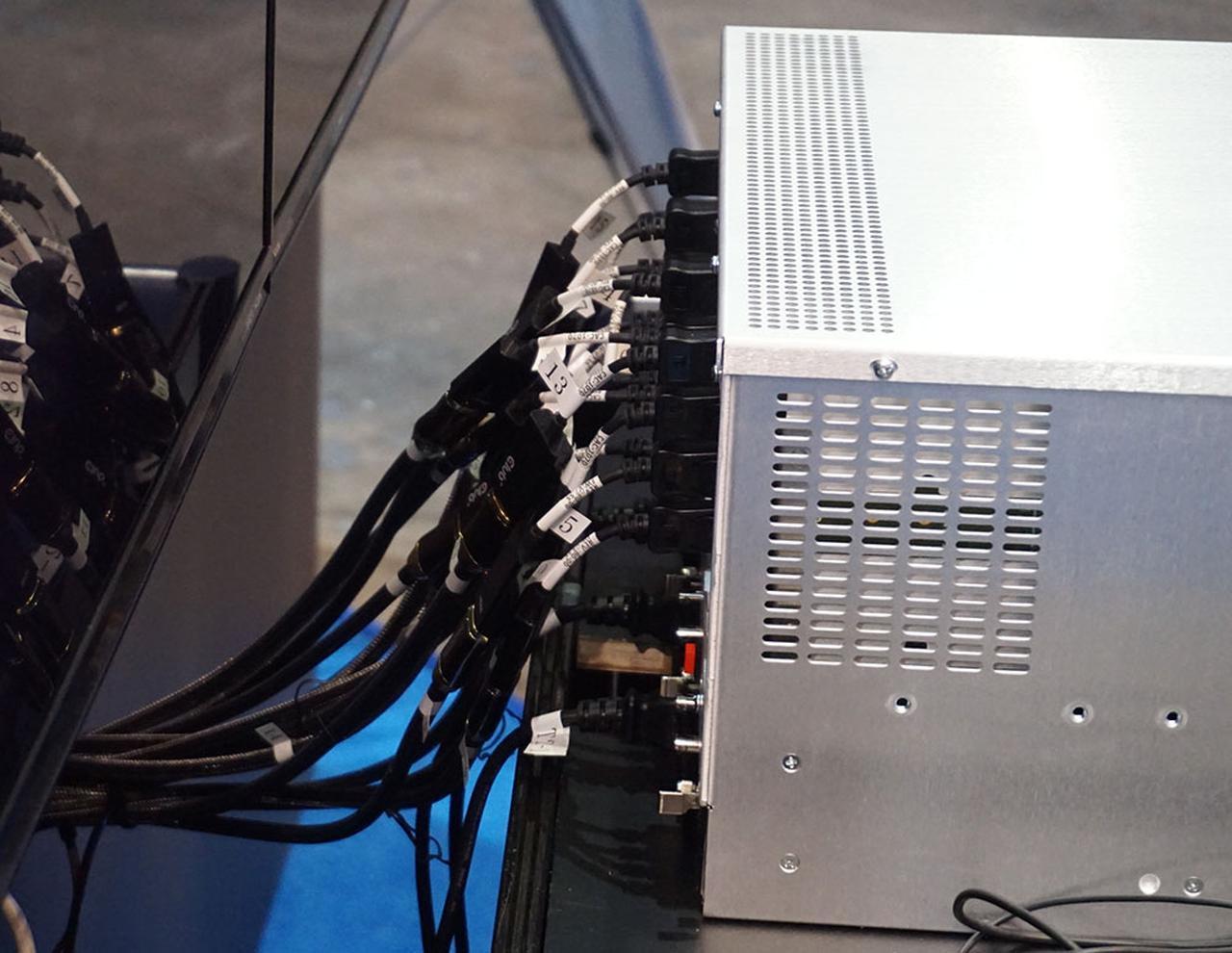 画像: 16本のHDMIケーブルで信号を伝送する