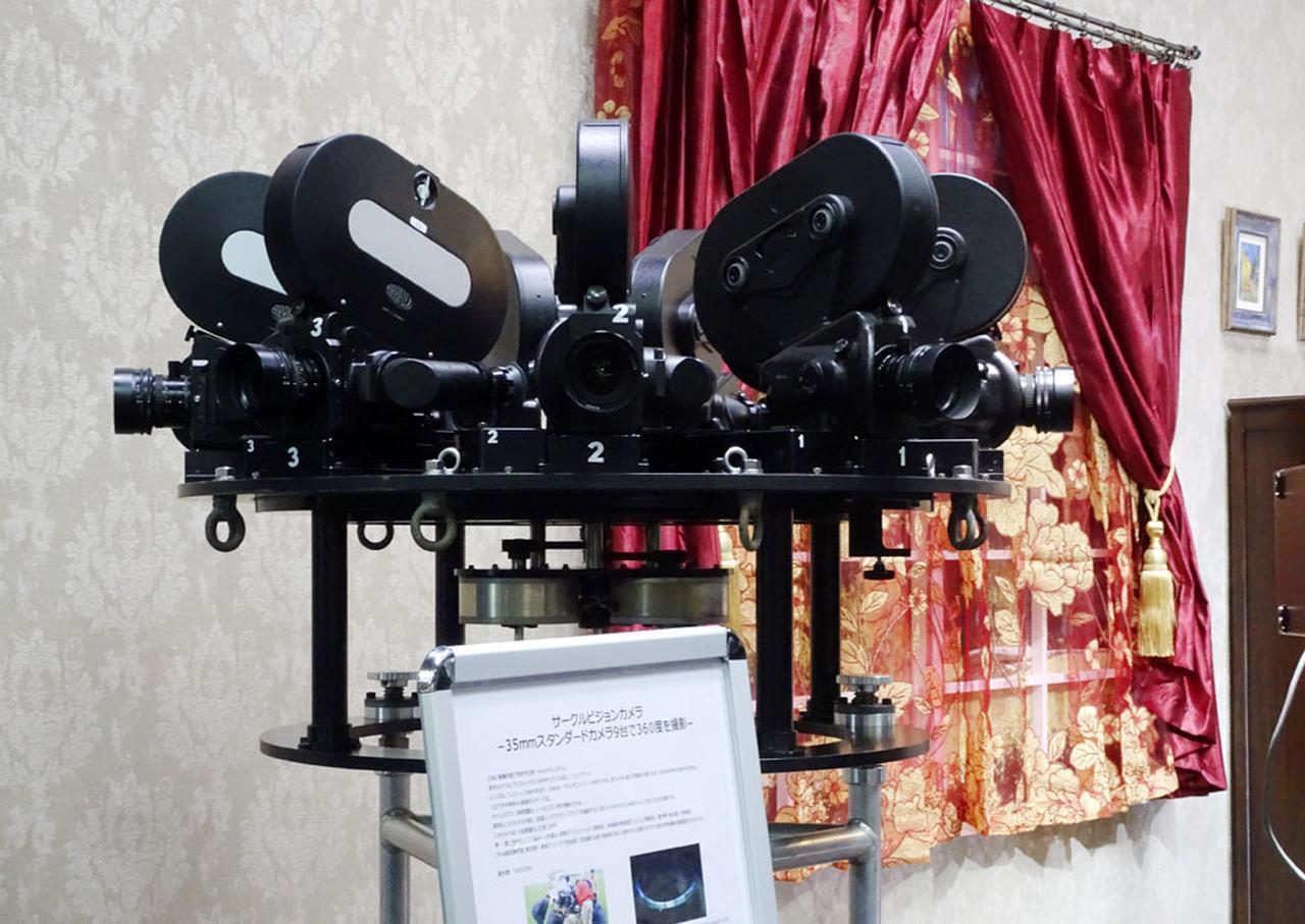 画像: 「アストロデザイン」ブース:カメラコーナーの隅にひっそり?と置かれていた「サークルビジョンカメラ」。35mmフィルムカメラ9台を円周上に置き、360度の撮影が可能だという