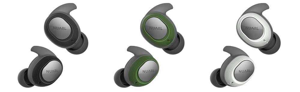 画像: ▲NUARLの完全ワイヤレスイヤホン「NT100 WATERPROOF TRUE WIRELESS STEREO EARPHONES」。カラーリングは、ブラック、グリーン、ホワイト