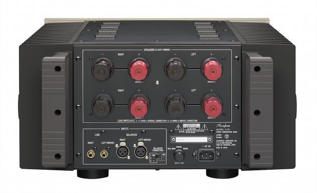 画像: スピーカー端子はY字プラグ、バナナプラグに対応した2系統装備。もう1台「A-75」を用意してモノーラル(2台)使いをすれば、ブリッジ接続さらにバイアンプ接続も可能になる