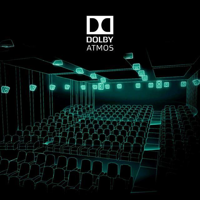 画像: ドルビーシネマにおけるドルビーアトモススピーカー配置のイメージ。実際にはスピーカーは露出しておらず、居心地を重視した空間となっている