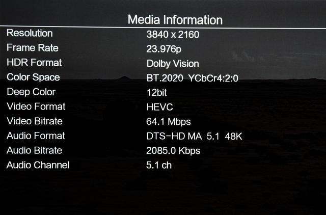 画像: LX800のデータ表示機能を使って、『2001年〜』UHDブルーレイの仕様を調べてみた。ディスクの仕様としてHEVC圧縮で、音声はDTS-HD MA 5.1ch収録という点が確認できた