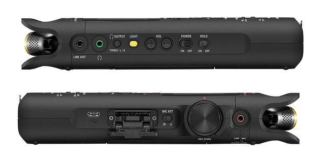 画像: 本体正面左側(写真上)には、ヘッドホン出力や各種操作ボタンが並ぶ。右側(下)には録音レベルのボリュウムノブやカードスロットなどを搭載