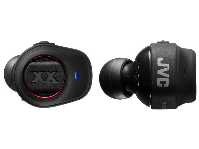 画像: HA-XP50BT(ワイヤレス・ヘッドホン)ならびにHA-XC70BT(ワイヤレス・イヤホン)には「XX」のロゴの上下に、エクストリームディープバスポート用の開口があるのがわかる。これによりXXシリーズの特徴と言える迫力ある重低音サウンドを実現していると言う