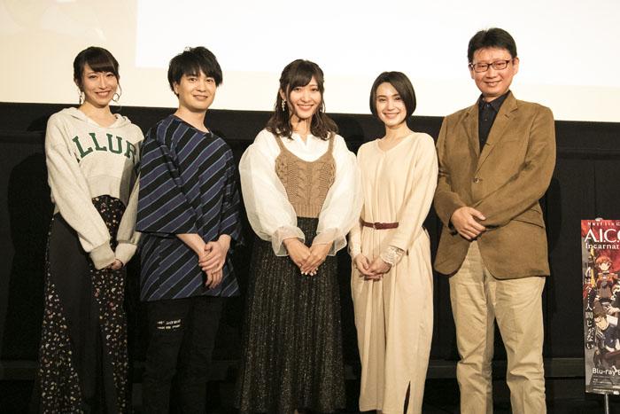画像: ▲舞台挨拶に登壇したメンバー。左から名塚佳織、小林裕介、白石晴香、M・A・O、村田和也監督