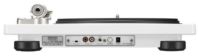 画像: DP-450USBホワイトのリア。フォノイコライザー(MM対応)を内蔵しており、アンプのアナログ音声入力端子と直接接続できる