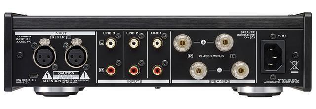 画像: XLRバランス入力1系統と、RCAアンバランス入力を3系統備える