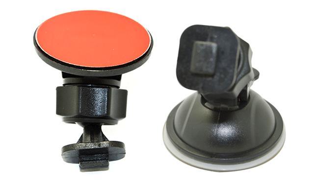 画像: 付属の固定ホルダー(左:シールタイプ、右:吸盤タイプ)