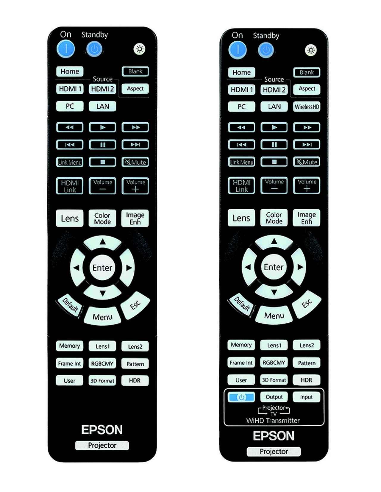 画像: 左がTW8400、右はTW8400Wのリモコン。右側下段に「HDR」のダイレクト呼び出しボタンを備える