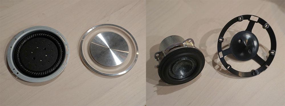 画像: LSPX-S2(左)とLSPX-S2(右側)のパッシブラジエーター。右の写真はLSPX-S2の中・低域用35mmユニットと、ディフューザー