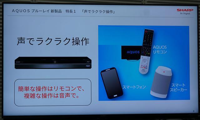 画像: AQUOSのリモコンやスマートスピーカーを使い、音声検索ができる