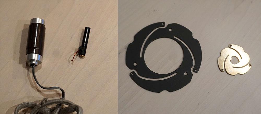 画像: 左端は初代機「NSA-PF1」の加振器で、その隣がLSPX-S1/S2のもの。右側の写真は、LSPX-S1の音響サスペンションで、右端のひとまわり小さなパーツがLSPX-S2のそれ