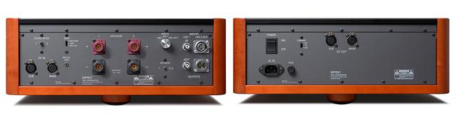 画像: アンプ部(左)と電源部(右)のリアパネル