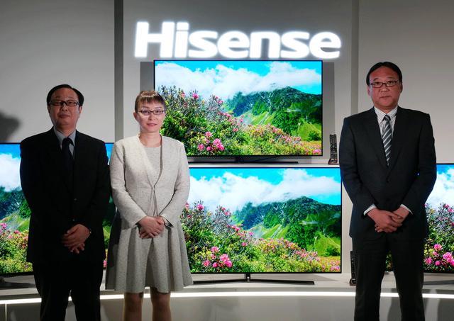 画像: 右から、会見に出席したハイセンスジャパンの副社長 磯部浩孝氏、社長 李文麗氏、営業部部長 岩内順也氏