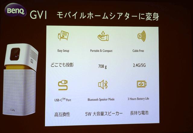 画像: ベンキュージャパン、バッテリー内蔵で持ち運べるモバイルプロジェクター「GV1」を3月26日に国内投入。価格は43000円