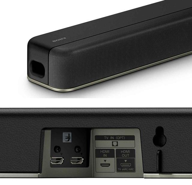 画像: HT-X8500は、フロント部にパンチングメタルを採用し、音が上にも抜けるように配慮した。下は接続端子部