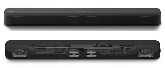 画像: 幅890mmの筐体にフロントL/Rと2基のサブウーファーを内蔵。ユニットサイズはすべて同じとなる