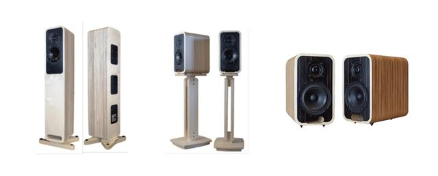 画像: Audelのスピーカーシステム「Sonika mk2」「Magika mk2」「Malika mk2」(左から)